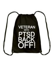 PTSD BACK OFF T-SHIRT Drawstring Bag thumbnail