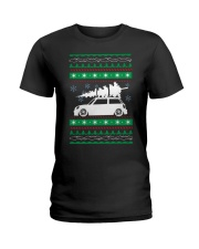 Christmas Tree Car Ugly Xmas Sweater Ladies T-Shirt tile