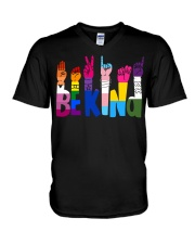 Be Kind Hand Signs LGBT V-Neck T-Shirt thumbnail