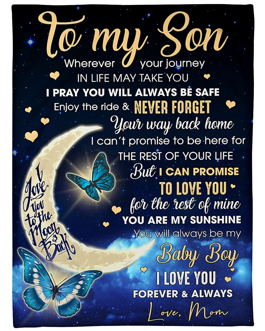 """To my Son Wherever your journey in life may takyou Large Fleece Blanket - 60"""" x 80"""""""