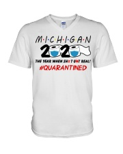 Michigan 2020 Quarantined V-Neck T-Shirt thumbnail