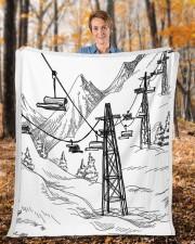 """Skiing blanket 1 Fleece Blanket - 50"""" x 60"""" aos-coral-fleece-blanket-50x60-lifestyle-front-01b"""