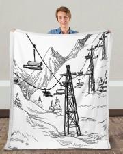 """Skiing blanket 1 Fleece Blanket - 50"""" x 60"""" aos-coral-fleece-blanket-50x60-lifestyle-front-01c"""