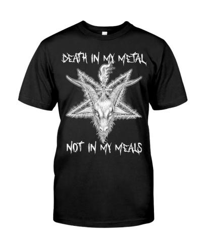 Vegan shirt death in my metal not in my meals