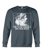 Vegan animal right fur is for animals rabbit Crewneck Sweatshirt thumbnail