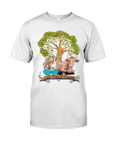Vegan shirt love peace vegan