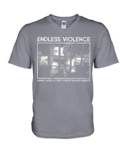 Vegan animal right endless violence  V-Neck T-Shirt thumbnail