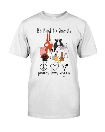 Vegan shirt e kind to animals peace love vegan