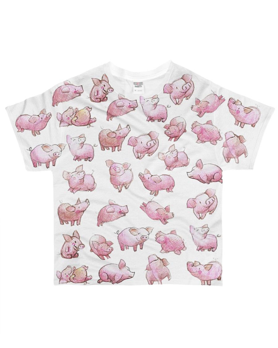 Vegan shirt cute lazy lovely pinky pig farm animal All-over T-Shirt