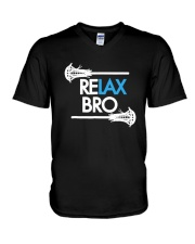RELAX Bro Lacrosse Shirt Funny LaX Team Lacrosse V-Neck T-Shirt front