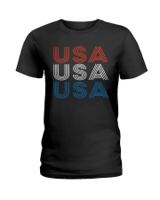 Vintage Retro Patriotic USA Ladies T-Shirt thumbnail