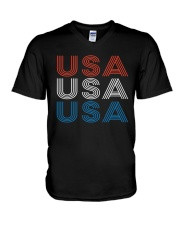 Vintage Retro Patriotic USA V-Neck T-Shirt thumbnail