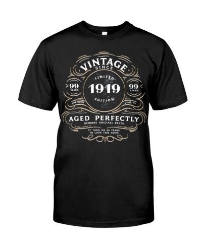 Vintage Since 1919 Shirt 100Th Birthday Gift Tee B