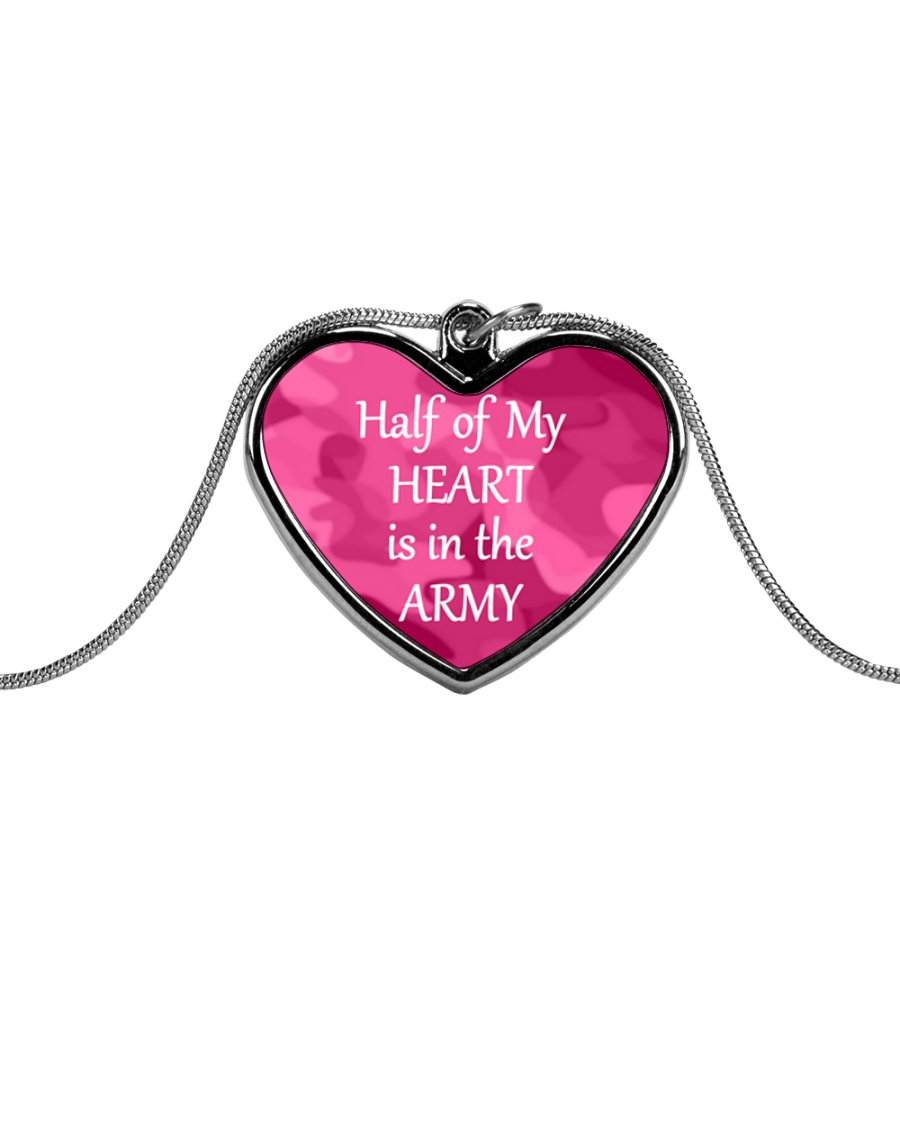 Half of My Heart is in the Army Metallic Heart Necklace