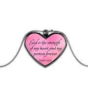 God is the strength of my heart Metallic Heart Necklace front