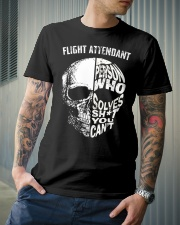 flight attendant a person who solve shit you can't Classic T-Shirt lifestyle-mens-crewneck-front-6