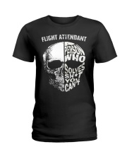 flight attendant a person who solve shit you can't Ladies T-Shirt thumbnail