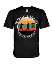 World's okayest disc golf plarer V-Neck T-Shirt thumbnail