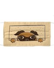 Peeking pug face mask Cloth face mask front