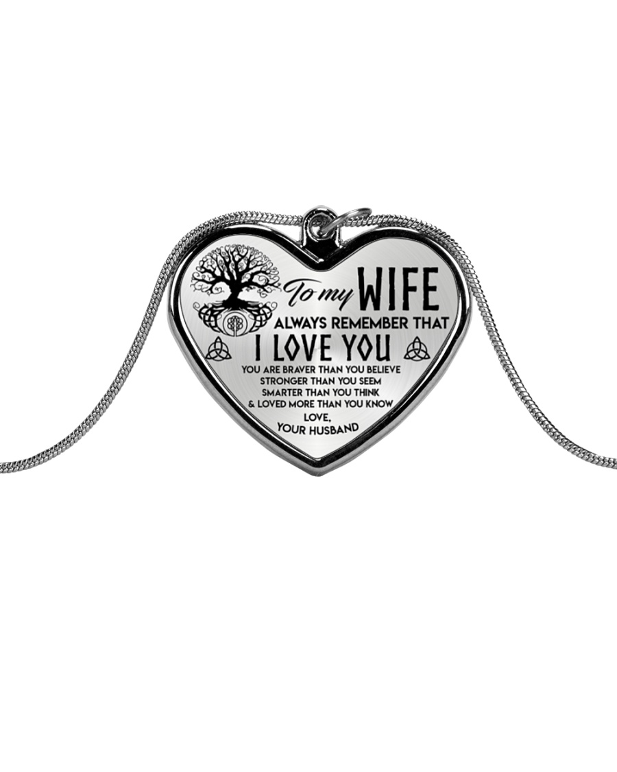 Viking I Love You Wife Metallic Heart Necklace