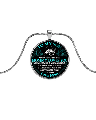 Fishing Mommy Loves You Son Mom necklace
