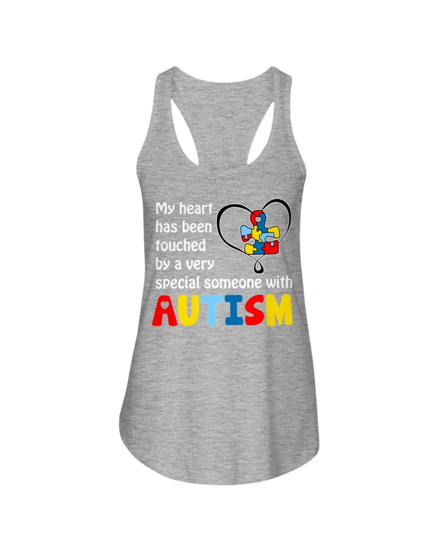 My heart touched by autism Ladies Flowy Tank