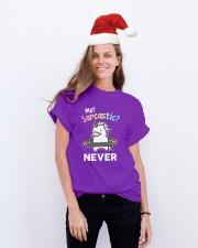 Unicorn Sarcastic Cute Gift Classic T-Shirt lifestyle-holiday-crewneck-front-1