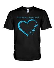 Nova Scotia Blue Heart PT  V-Neck T-Shirt thumbnail