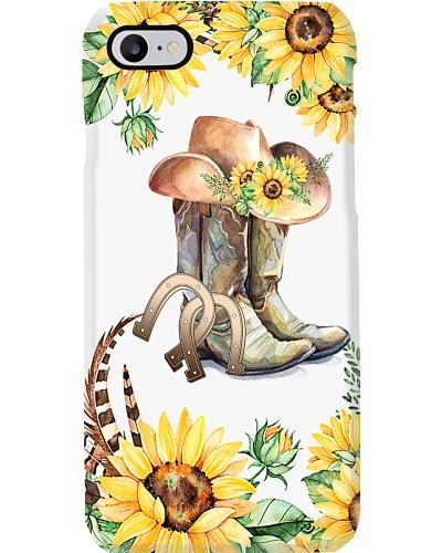 horse shoes cowboots sunflower phone case 9996