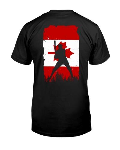 Baseball man Canada flag 2 sides printed