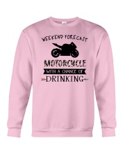 motorcycle-weekend forecast-drinking 0001 Crewneck Sweatshirt thumbnail