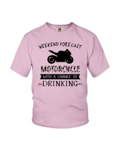 motorcycle-weekend forecast-drinking 0001 Youth T-Shirt thumbnail