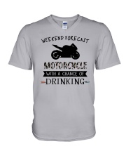 motorcycle-weekend forecast-drinking 0001 V-Neck T-Shirt thumbnail