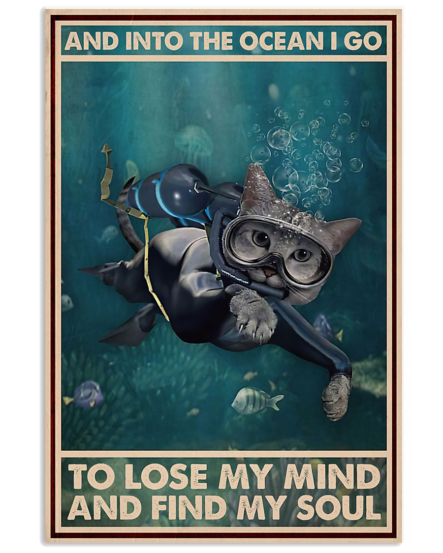 And Into The Ocean I Go - Cat Poster 0012 11x17 Poster