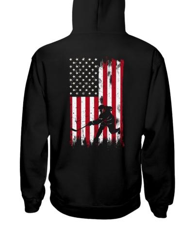 Hockey man USA flag 2 sides printed