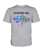 Dragonfly - November girl V-Neck T-Shirt thumbnail