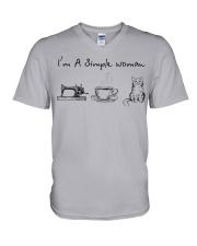 Simple Woman - cat V-Neck T-Shirt thumbnail
