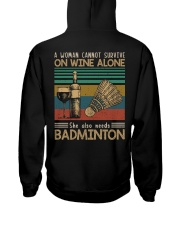 A woman cannot survive - badminton Hooded Sweatshirt back