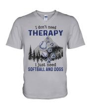 I Don't Need Therapy - Softball V-Neck T-Shirt thumbnail