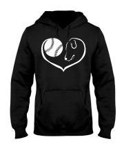 easily distracted by softball and dog  Hooded Sweatshirt front