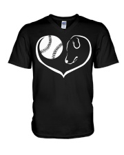 easily distracted by softball and dog  V-Neck T-Shirt thumbnail