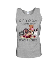 A Good Day Starts With Dog And Coffee Unisex Tank thumbnail