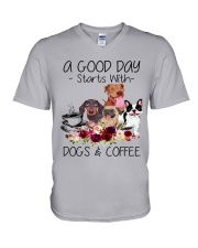 A Good Day Starts With Dog And Coffee V-Neck T-Shirt thumbnail