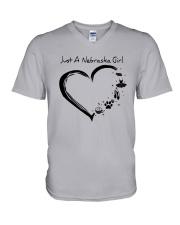 Just A Nebraska Girl V-Neck T-Shirt thumbnail