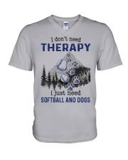 I Don't Need Therapy - Softball PT V-Neck T-Shirt thumbnail