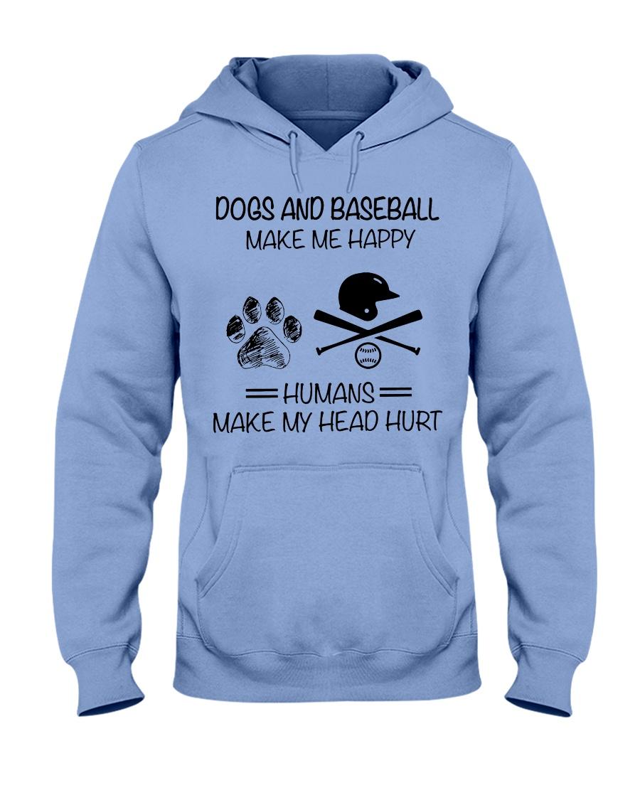 dogs-baseball make me happy Hooded Sweatshirt
