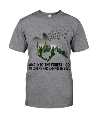 Horse girl into the forest grey 0005