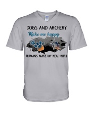 Dogs And Archery - Make Me happy V-Neck T-Shirt thumbnail
