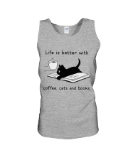 Life is Better With Coffee Cats and books Unisex Tank thumbnail