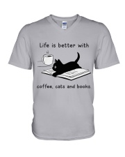 Life is Better With Coffee Cats and books V-Neck T-Shirt thumbnail